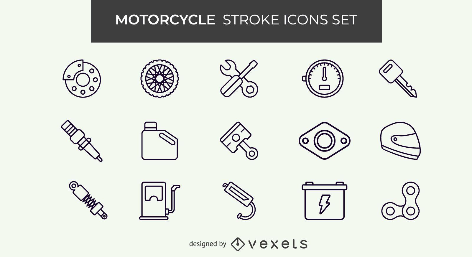 Conjunto de iconos de carrera de motocicleta