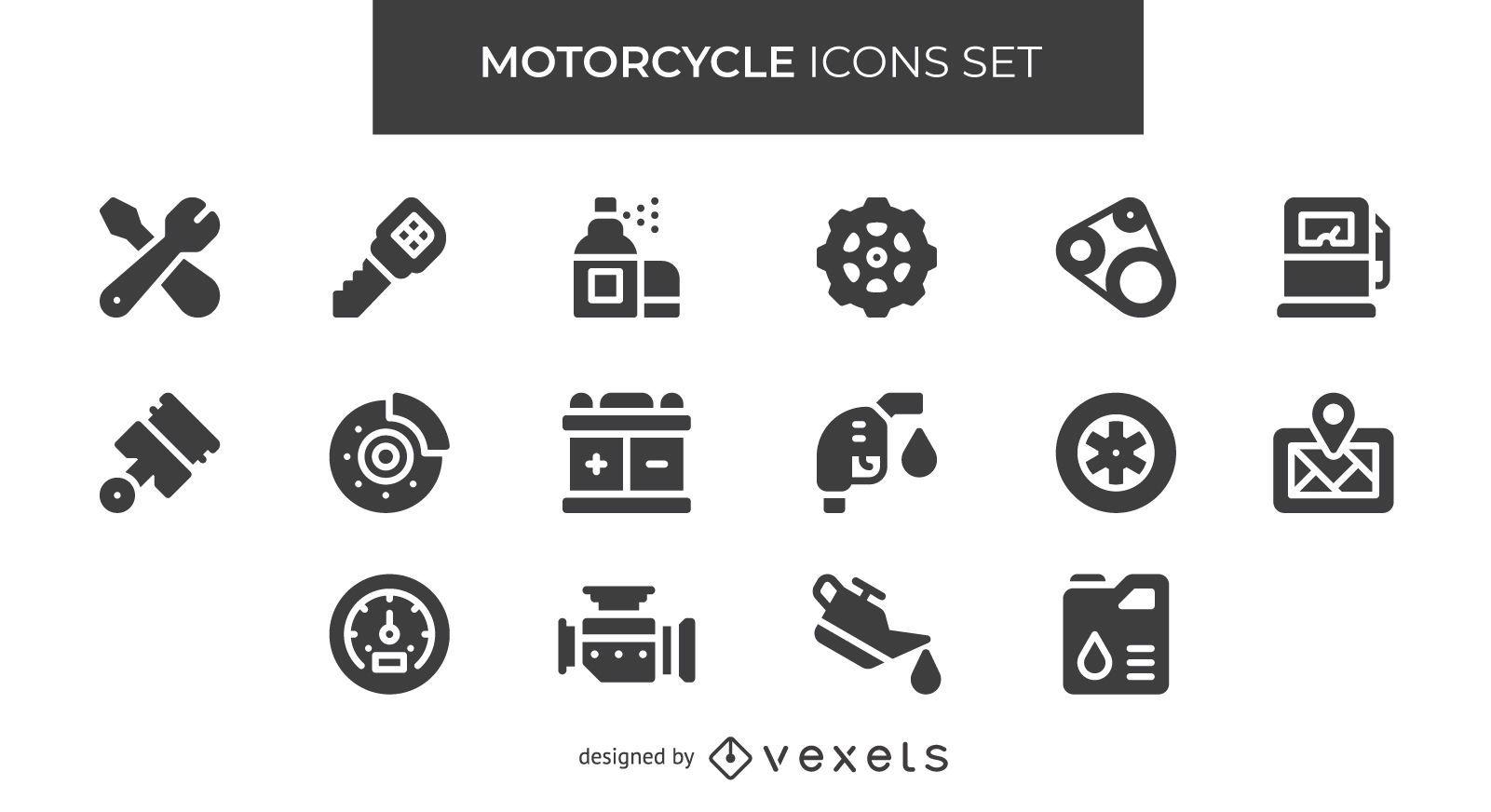 Conjunto de iconos de motocicleta