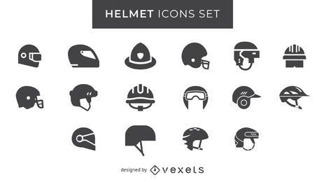 Helmet icons set