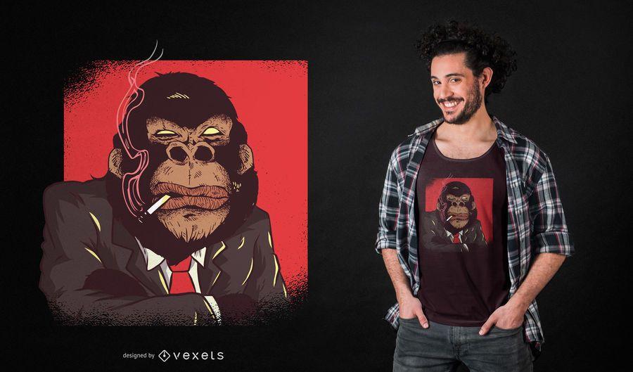 Design do t-shirt do chefe do gorila