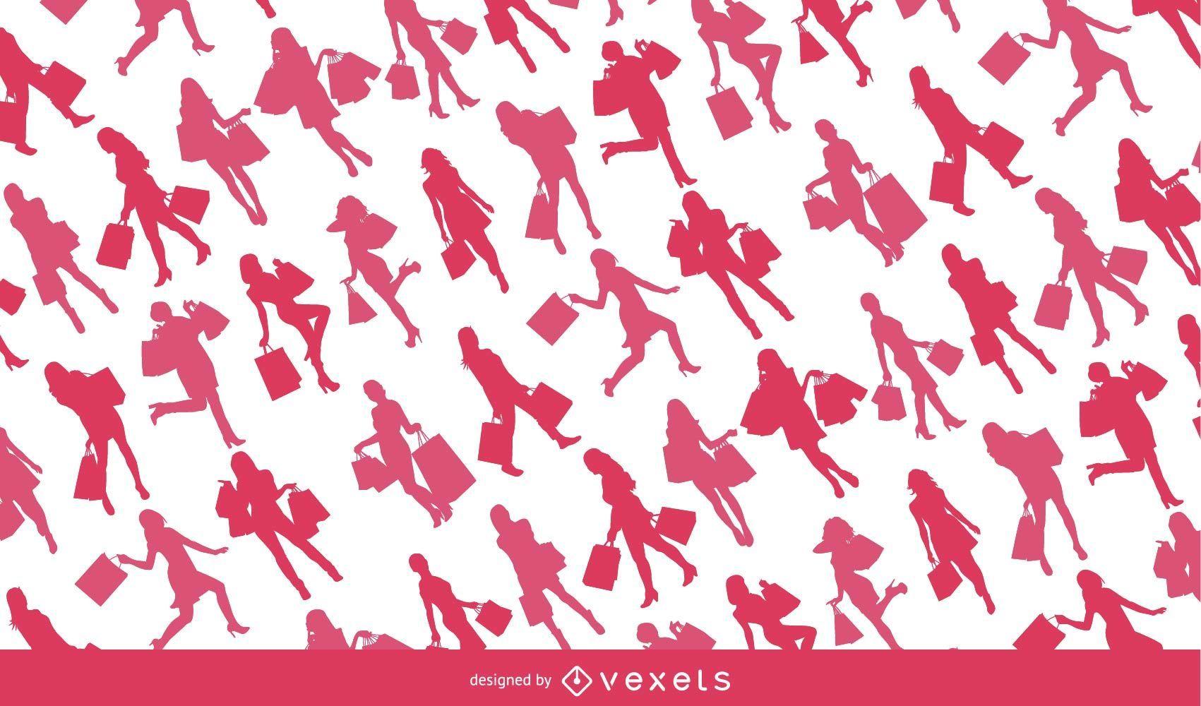 Woman shopping silhouette pattern