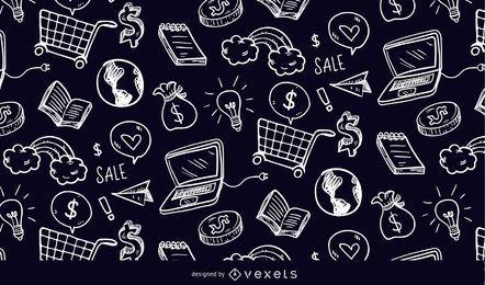Elementos de compras doodle padrão