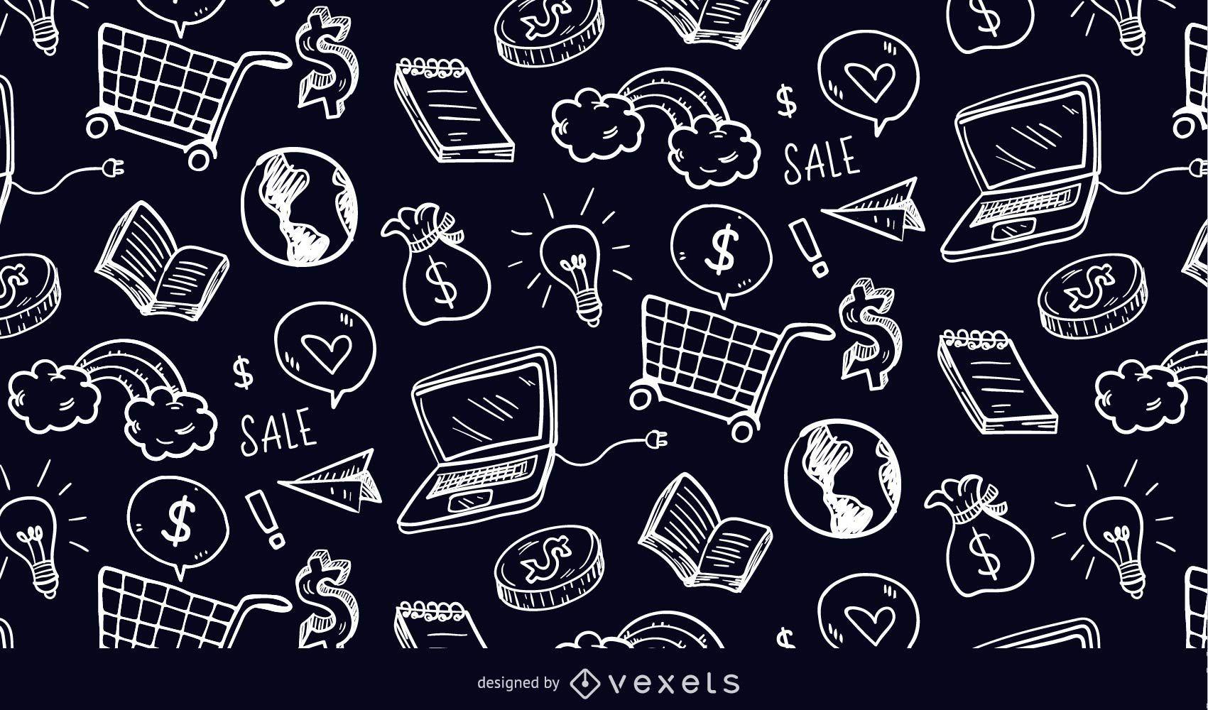 Padrão de doodle de elementos de compras