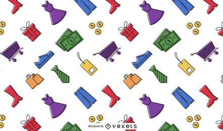 Elementos coloridos de compras patrón