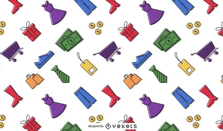 Padrão colorido de elementos de compras