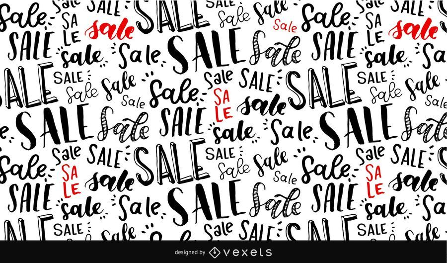 Sale lettering seamless pattern
