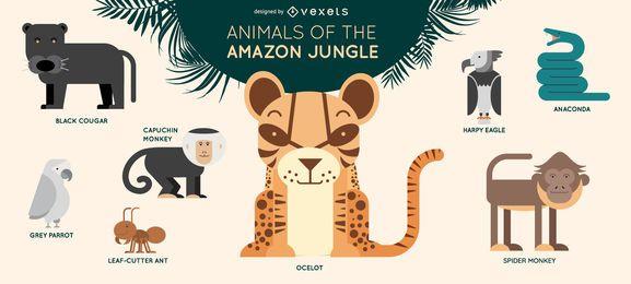Conjunto de ilustración de animales de selva de Amazon