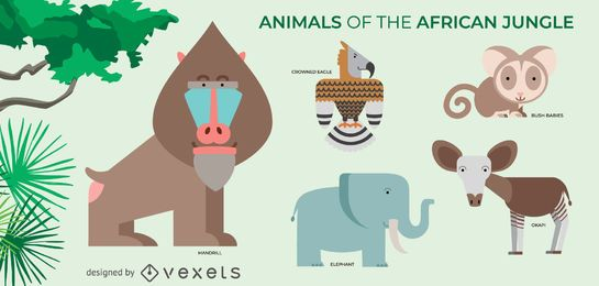 African jungle animals set