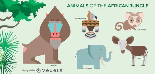 Afrikanische Dschungeltiere eingestellt