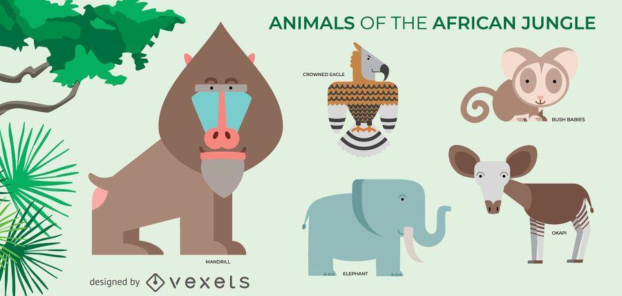 Conjunto de animales de la selva africana