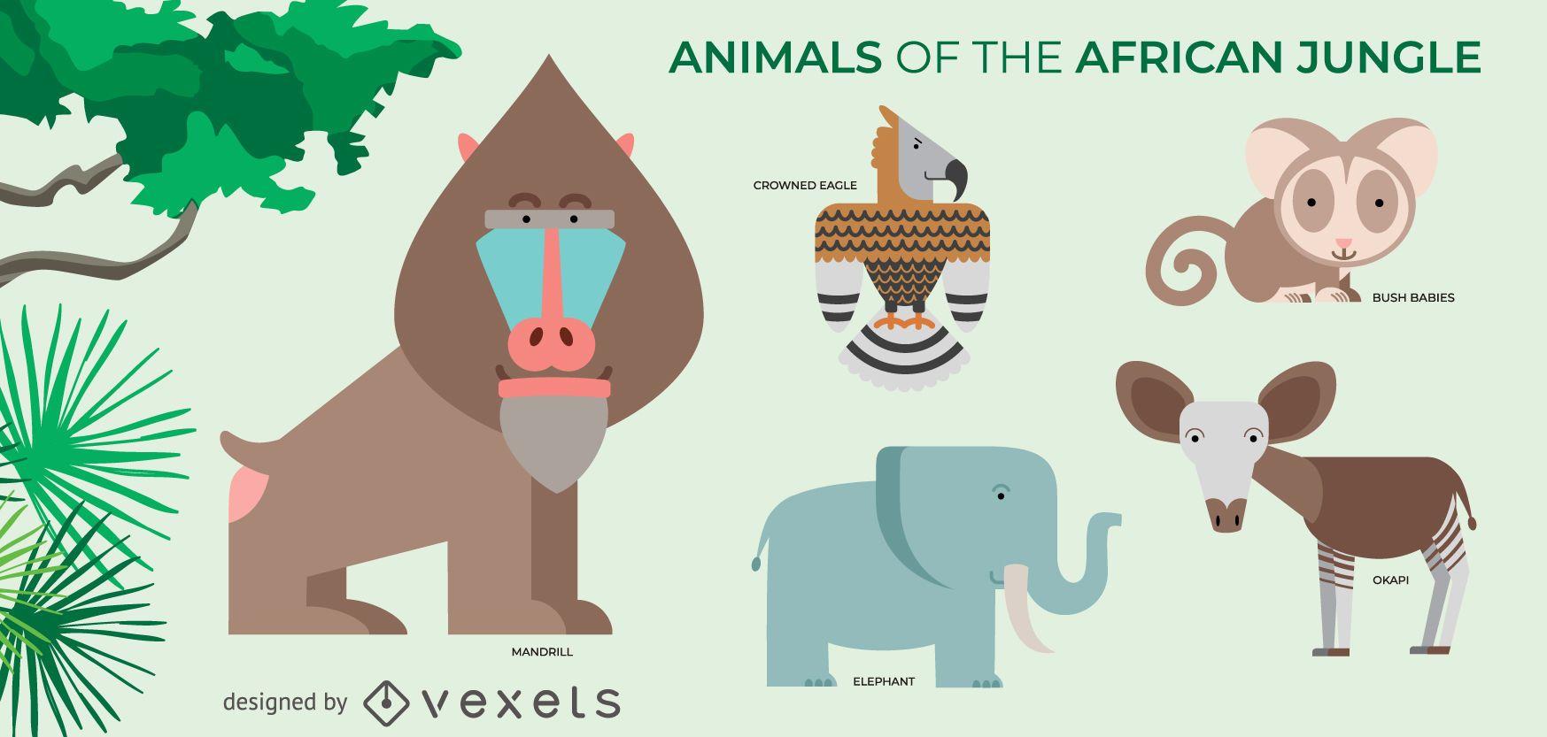 African jungle animals set