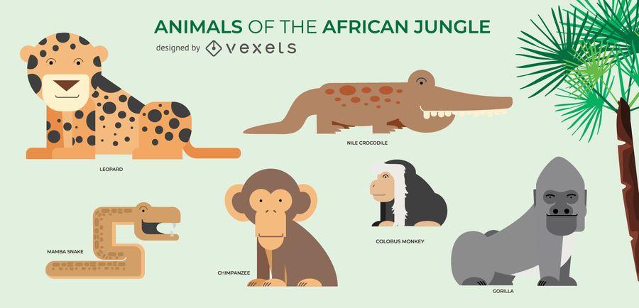 Conjunto de ilustraciones de animales africanos.