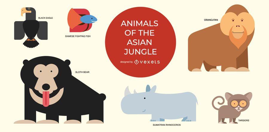 Conjunto de animais da selva asiática