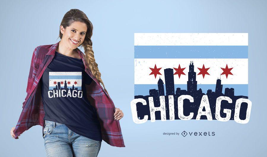 Diseño de camiseta Chicago Skyline Flag