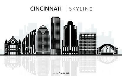Silueta de horizonte negro de Cincinnati