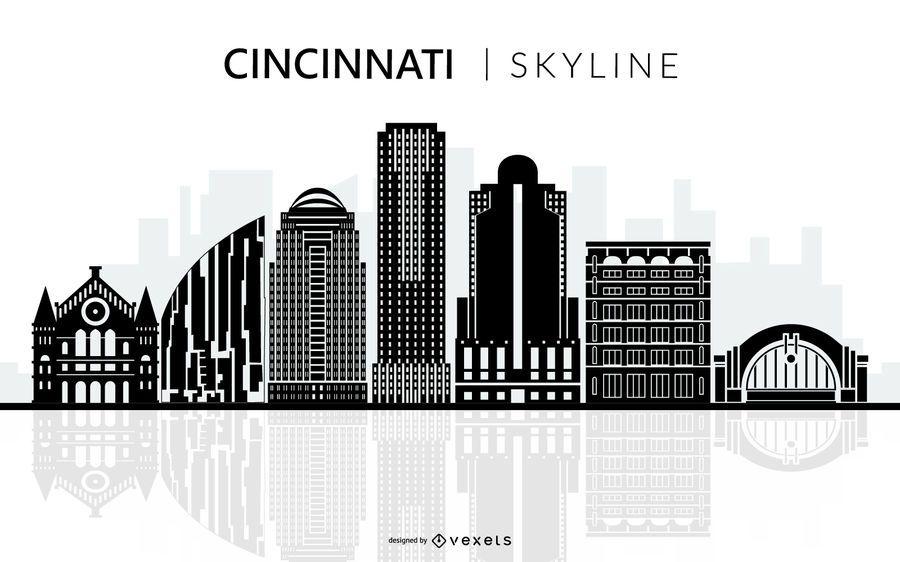 Silhueta de horizonte preto de Cincinnati