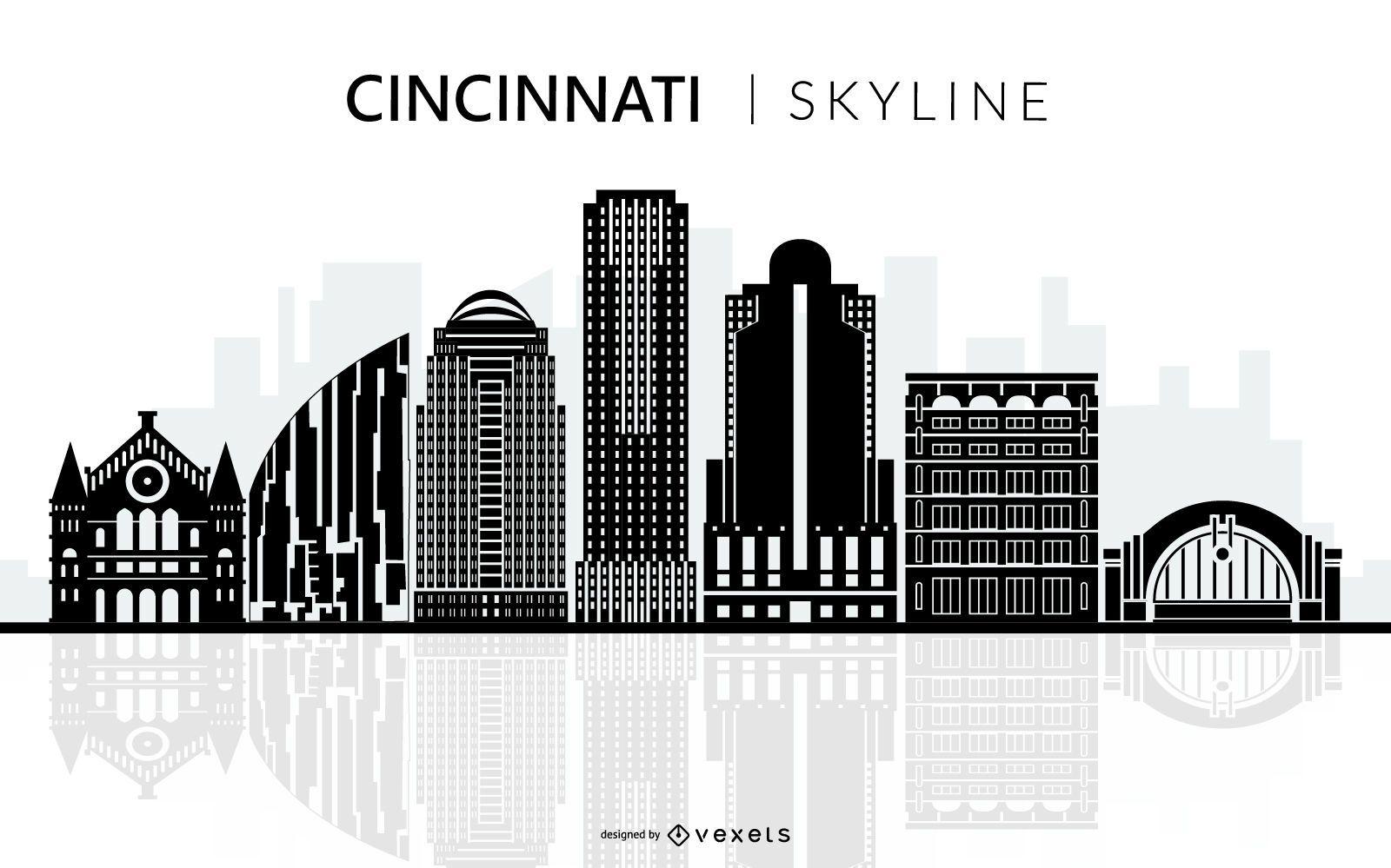 Cincinnati Black Skyline Silhouette