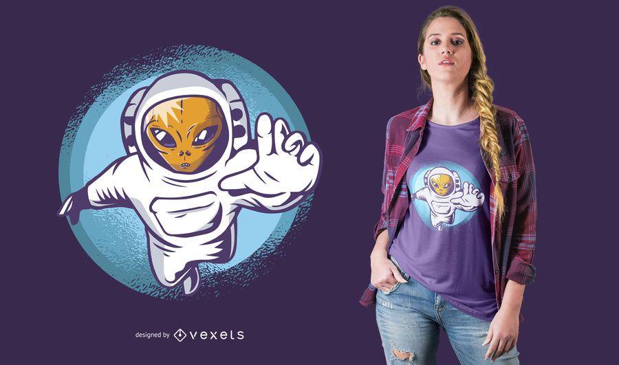 Ausländischer Astronauten-T-Shirt Entwurf
