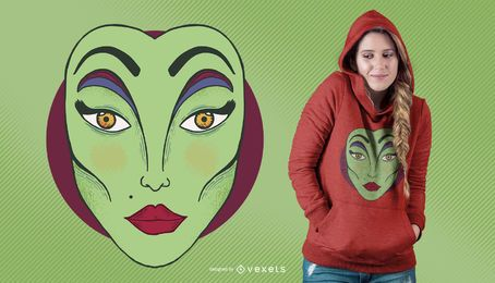 Design de t-shirt de maquiagem de bruxa sexy