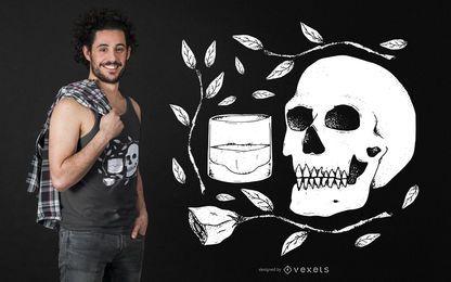 Schädel mit Rose und Whisky T-Shirt Design