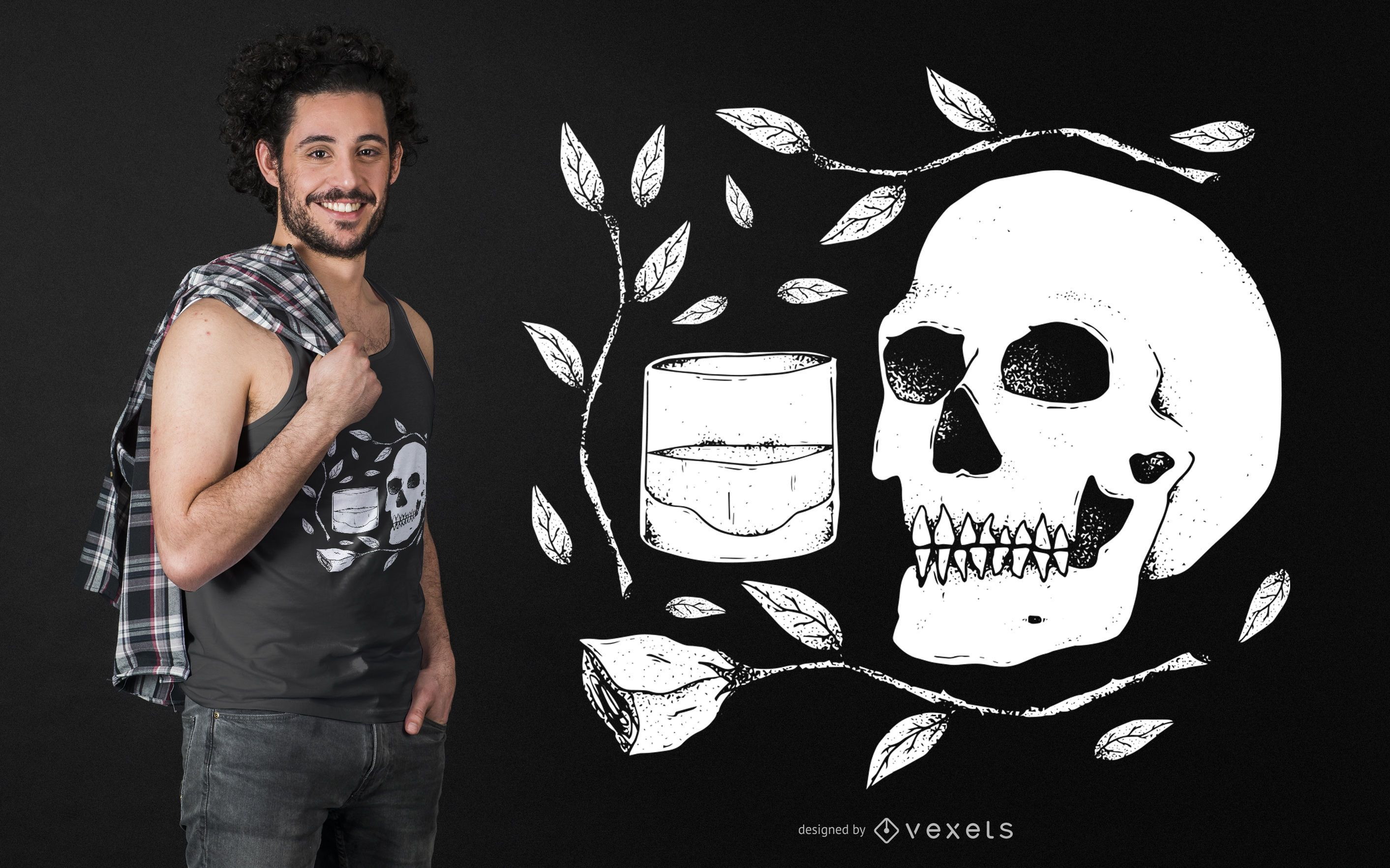Skull with Rose and Whiskey T-shirt Design