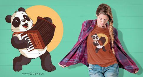 Panda Jogando Acordeão Design T-shirt