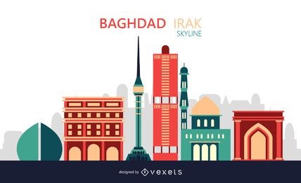 Baghdad City Skyline Illustration