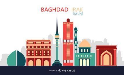 Ilustração do horizonte da cidade de Bagdá