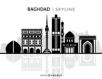 Silhueta de Skyline de cidade de Bagdá