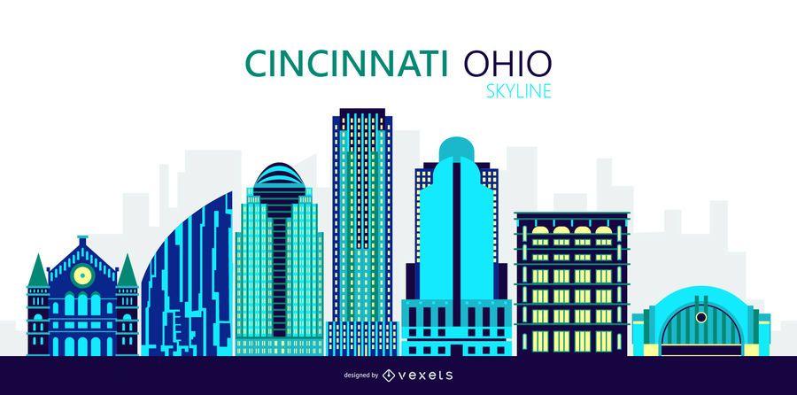 Ilustración del horizonte de la ciudad de Cincinnati, Ohio