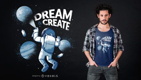 Projeto do t-shirt dos grafittis do astronauta
