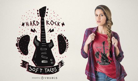 Projeto do t-shirt dos tacos da música do rock and roll