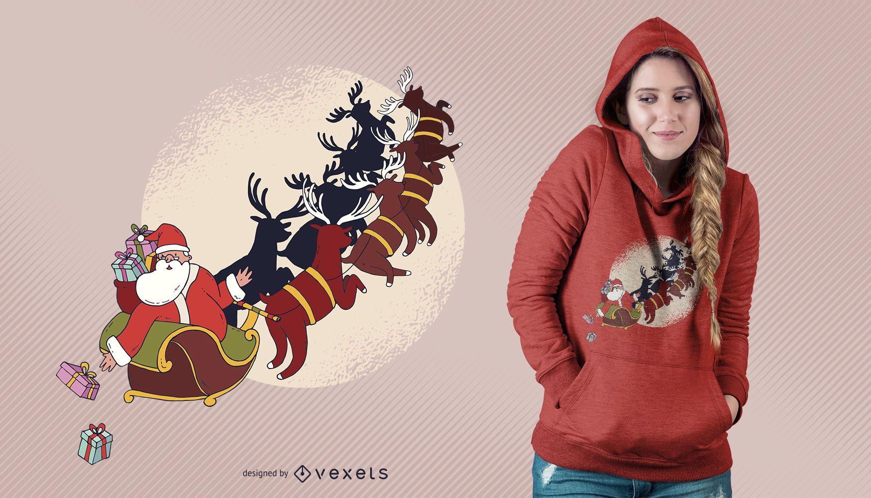 Santa with Reindeers Christmas T-shirt Design