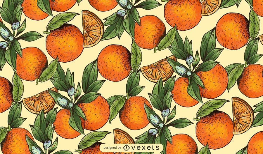 Hand drawn oranges pattern