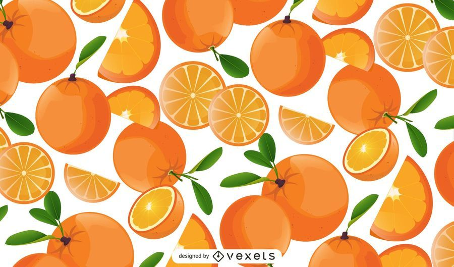 Orange fruits and slices pattern