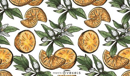 Dibujado a mano patrón de fruta naranja