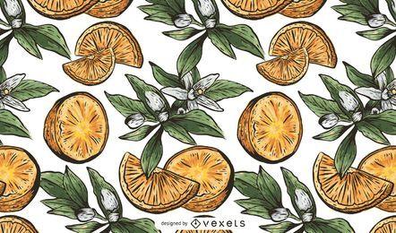 Padrão de fruta laranja desenhada de mão
