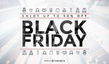 Design de venda de roupas da Black Friday