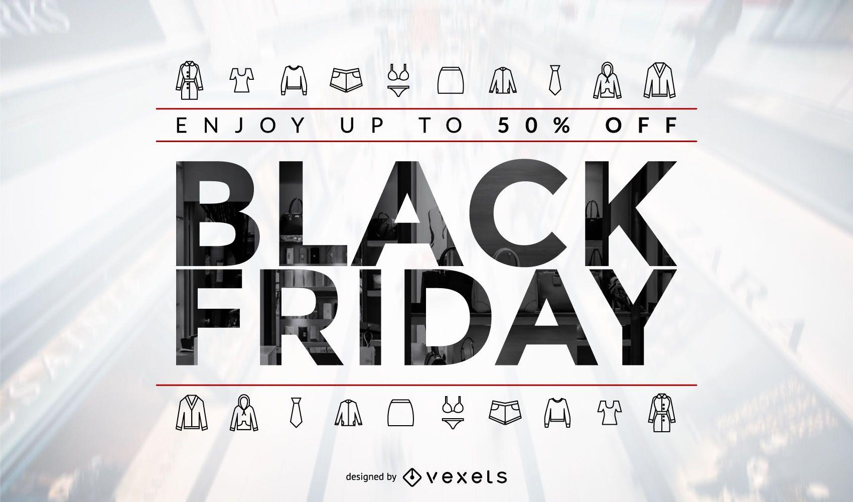 Diseño de venta de ropa de viernes negro