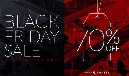 Descuento de venta de viernes negro diseño de etiqueta