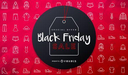Diseño de etiqueta de venta de viernes negro