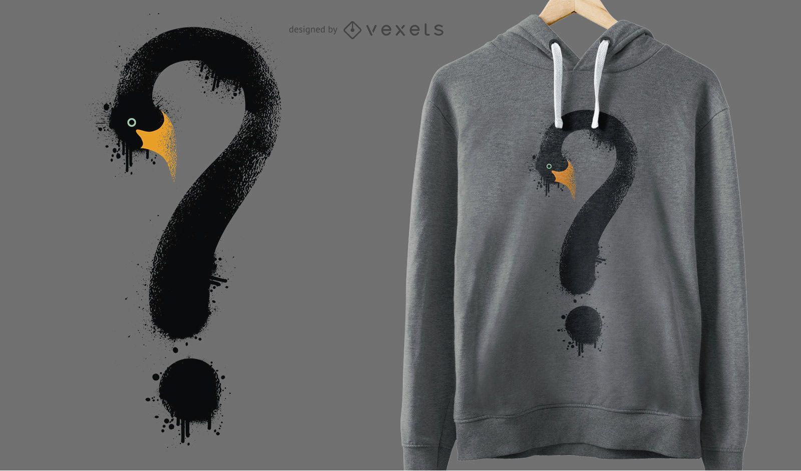 Diseño de camiseta de signo de interrogación de cisne negro