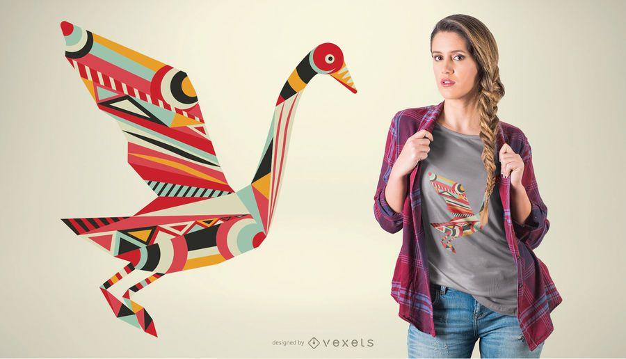 Projeto geométrico do t-shirt do pássaro das formas