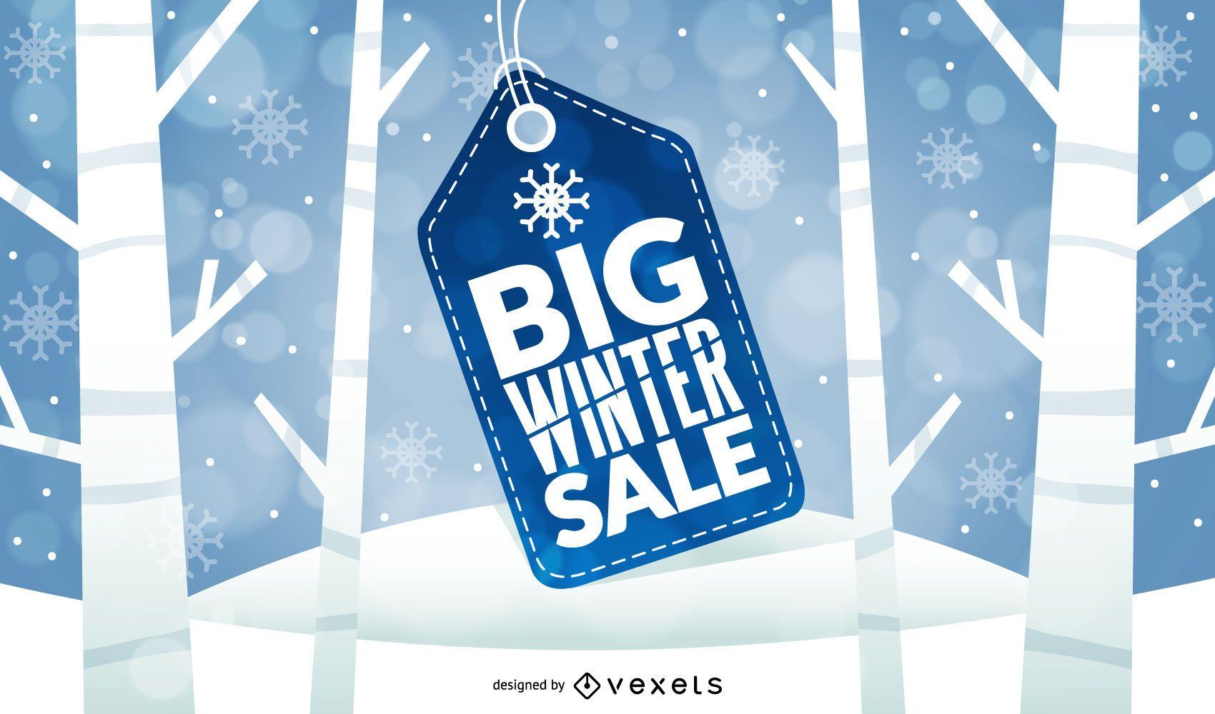 Diseño de etiqueta de precio de gran venta de invierno