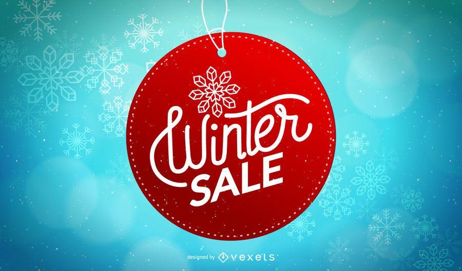 Projeto de etiqueta de círculo de venda de inverno