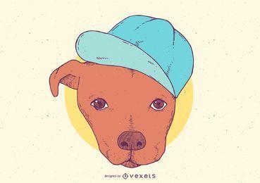Pitbull mit Hut-Karikatur