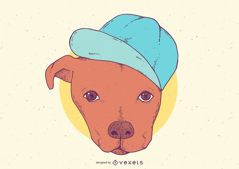 Pit Bull With Hat Cartoon