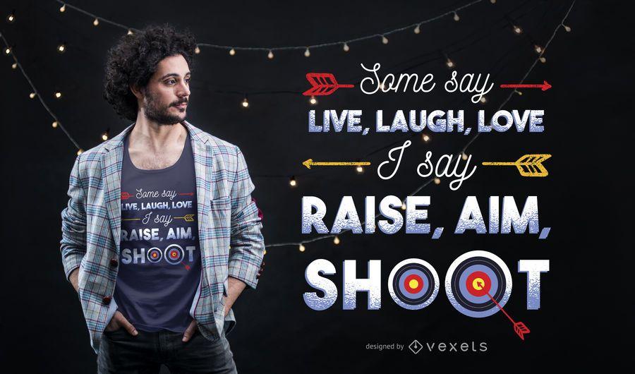 Projeto do t-shirt das citações do tiro ao arco