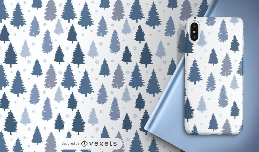 Pines and snowflakes pattern