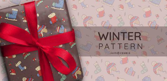 Patrón ilustrado ropa de invierno